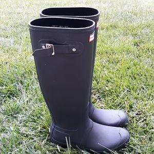 Hunter Tall Rain Boots Sz8/39 Matte Black Wellies